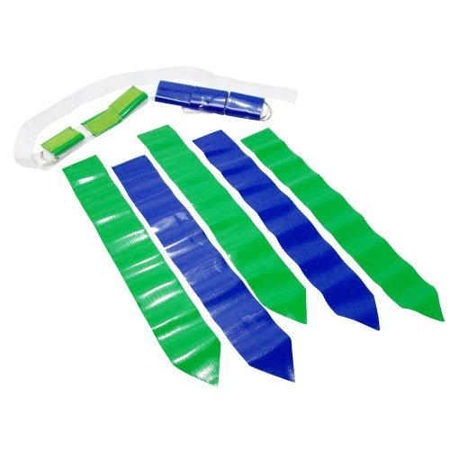 WYZworks 36 Flags & 12 Belts - Velcro Flag Football Set - 18 Green Flags & 18 Blue Flags