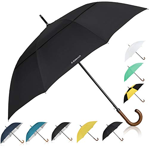 - ZEKAR 60 inch Wooden J Handle Golf Umbrella, Classic Double Canopy Windproof Large Auto Open Rain Stick Umbrellas (60inch-Black)