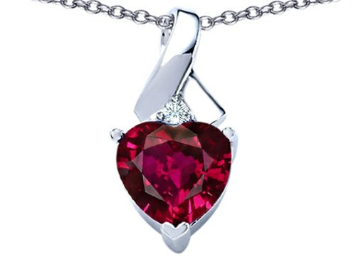 Heart Star Pendant - Star K 8mm Heart Shape Created Ruby Ribbon Pendant Necklace Sterling Silver