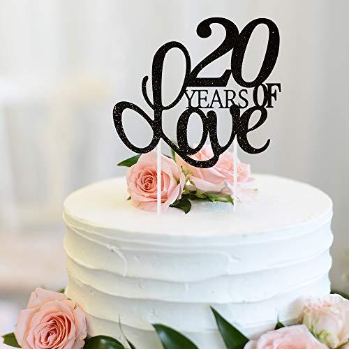 20 Years of Love Cake Topper 20th Happy Birthday Twentieth Wedding Anniversary Love Gifts Keepsake Party Decoration Supplies - 5.9'' x 8.3''(Black Glitter).