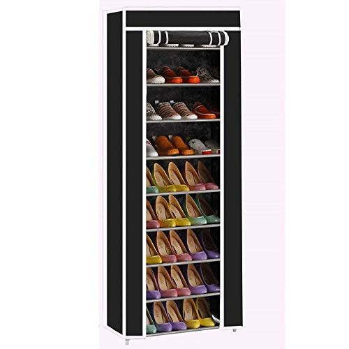 Rapesee 10-Layers 9 Lattices Non-Woven Fabric Shoe Rack Portable Shoes Rack Closet Organizer Cabinet with Dustproof Fabric Cover (Black) - Extra Large Lattice