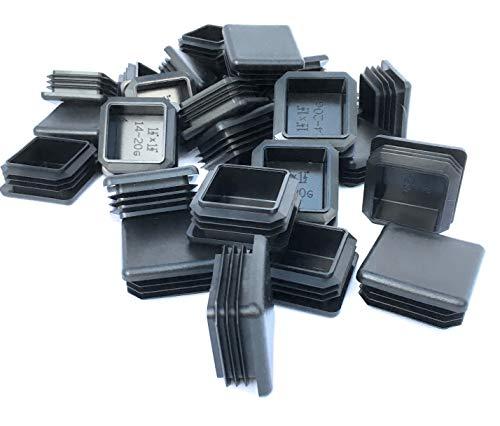 Aluminum Gauge Tubing 14 ((30 Pack) (14-20 Gauge) Heavy Duty Black Plastic Square Plug 1.5