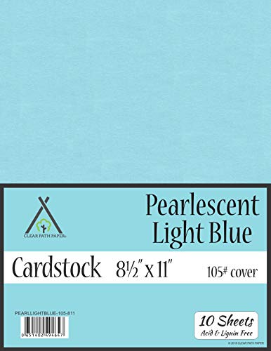 Pearl Shimmer Metallic Light Blue Cardstock - 8.5 x 11 inch - 105Lb Cover - 10 Sheets (Card Shimmer)
