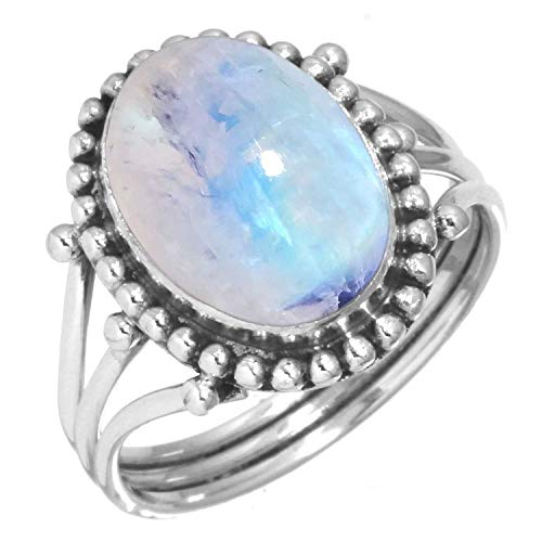 Rainbow Moonstone Ring 925 Sterling Silver Handmade Jewelry Size 5
