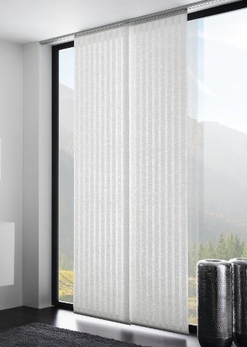 Flächenvorhang/Schiebegardine CONTRAST halbtransparent, natürliche Bast Struktur, Farbe: weiß, 60x245cm, hochwertige Verarbeitung - mydeco
