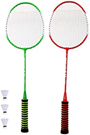 BESPORTBLE 5pcs Badminton Racquet Set Steel Alloy Sponge Anti Slip Grip Training Double Racket Sports Balls Eq