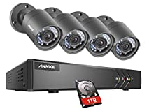 ANNKE 720P 8CH DVR (4) Weatherproof Inddoor/Outdoor Security Cameras with Remote Access, Night Vision 66ft(20m), Smart Motion Detection and Email Alert-1TB HDD included