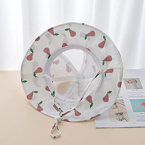 Baby Bucket Hat, Infant Boys Girls Cotton Breathable Sun Hat Infant Baby Boys Girls Fruit Print Sunscreen Cap[A Little net_Rose bar,50cm(0-4Y)]