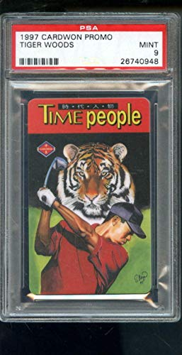 - 1997 Cardwon Promo Taiwan Tiger Woods Golf Time People ROOKIE Card 9 Graded - PSA/DNA Certified - Autographed Golf Cards