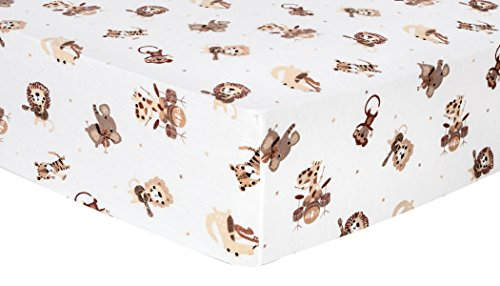 Safari Flannel - Trend Lab Safari Rock Band Deluxe Flannel Fitted Crib Sheet