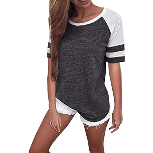 SanCanSn Tops Clearance! Casual Tee Lady Loose Blouse Solid Color Round Neck Short Sleeve T-Shirt (US (4-6)=Tag Size:S, Z#Dark Gray)