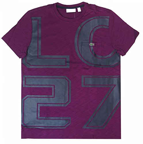 Lacoste LC27 Short Sleeve Crewneck Logo Graphic Slubbed T-Shirt Purple ()