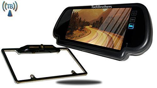 Tadibrothers 7 Inch Mirror with Wireless CCD Steel License Plate Frame Backup - Camera Tadibrothers Mirror Backup