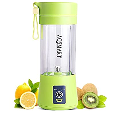 Portable Blender By AQSMART: USB Rechargeable Mini Juicer Cup, Fruit And Vegetable Mixing Machine For Smoothies, Protein Shakes And Baby Food, Durable Stainless Steel Blades, Green Color, 400 ML Mixer