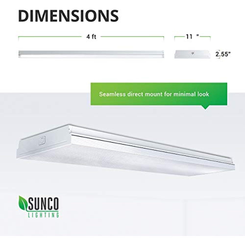Sunco Lighting 2 Pack Wraparound 11 Wide LED Shop Light, 4 FT, Linkable, 72W, 8500 LM, 5000K Daylight, Integrated LED, Prismatic Lens, Direct Wire, Flush Mount Fixture , Garage- ETL, Energy Star