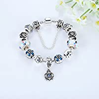 Presentski Blue Lucky flowers Silver Plated Bracelet for Girlfriend and Wife and Beloved Ones.
