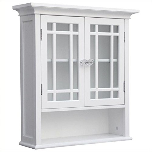 Elegant Home Fashions Neal Collection Shelved Wall Cabinet with Doors and Cubby, ()