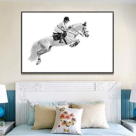 hetingyue Carrera de Caballos Lienzo Pintura Mural Moderno póster Sala de Estar Arte impresión Blanco Animal Caballo Cuadro sin Marco Pintura 75x112 cm