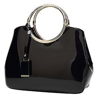Fanspack Womens Handbags PU Leather Hard Shell Messenger Shoulder Bag Tote Bag Purse (Black)