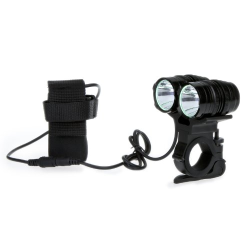 Kingzer CREE T6 LED Bike Bicycle Light Dual Beam Twin Front Lamp 4Modes 2400LM Black