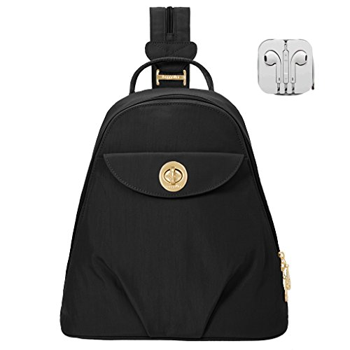 Baggallini Dallas Convertible Sling Backpack Bundle with Complimentary Travel Earphones (Black)