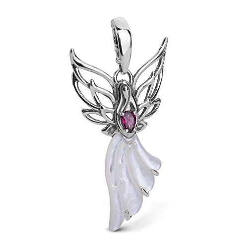 (Carolyn Pollack Sterling Silver White Mother of Pearl and Garnet Gemstone Angel Pendant Enhancer)