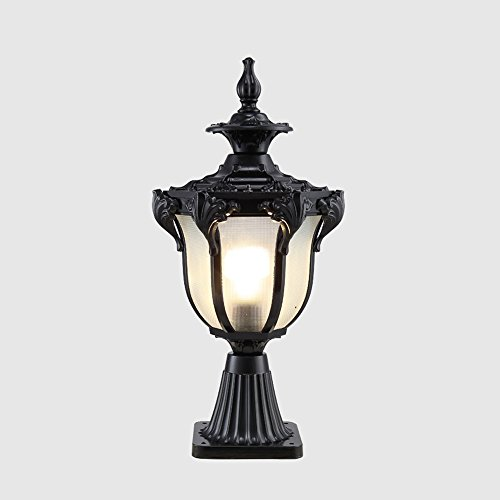 Hines European Victoria Decoration Glass Lantern Outdoor Pillar Lamp Column Light Waterproof Table Lamp Lawn Garden Lights Aluminum Street Post Light Courtyard Garden Terrace E27 (Color : Black)