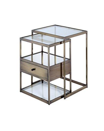 ACME Enca Antique Brass and Glass Nesting Tables Set 2 Piece