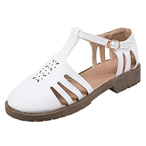White Cut Sandals Round Women Coolcept Out Toe nTqYI4