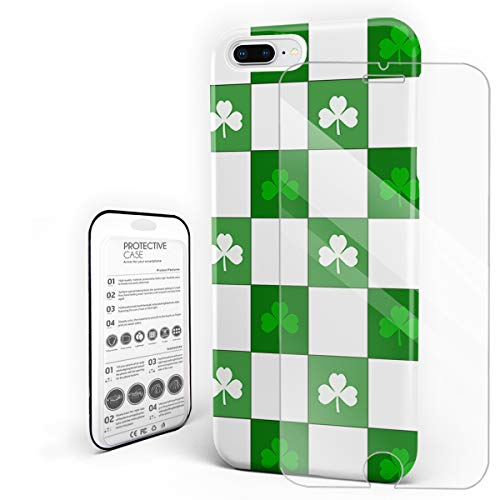 Phone Case for iPhone 7 Plus/8 Plus Case Cover, Plaid Grid Celtic Fashion Clover Classical Irish Culture Inspiration, Protective Shockproof Anti-Scratch Back Case with Tempered Glass Screen Protector
