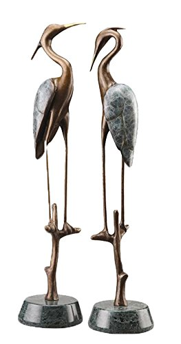 - Spi Gallery Brass And Marble Wetlands Crane Pair Sculptures