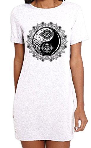 Yin and Yang Mandala Hipster Tattoo Large Print Women's T-Shirt Dress (XL, White) ()