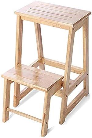 LADDER Taburete de escalera Taburete de escalera Taburete plegable de madera maciza para el hogar Taburete de doble uso Escalera de madera multifunción de 2 escalones Estantes móviles Banco de zapato: Amazon.es: