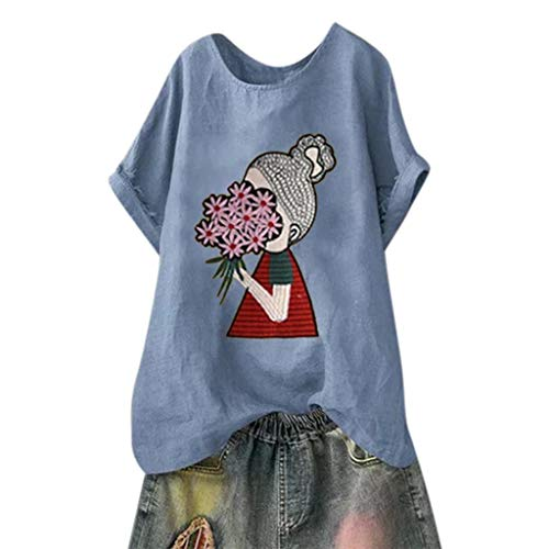 DAYPLAY Womens Tops Plus Size Cotton Linen Short Sleeve Print Tee Shirts Loose Tunic Ladies T Shirt Blouses Sale Blue