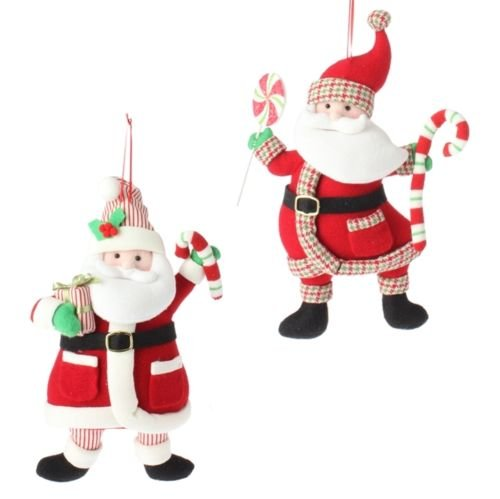 VIPASNAM-Santa plush Christmas ornament decoration set of 2 rzchhh 361646 NEW RAZ by VIPASNAM