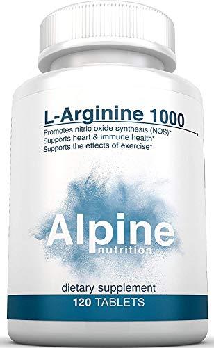 Alpine Nutrition L-Arginine 1000mg Tablets - NOS Nitric Oxide - 120 Tablets (Alpine Meats)