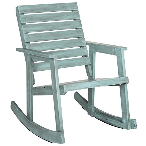 Safavieh Outdoor Collection Alexei Beach House Blue Rocking Chair