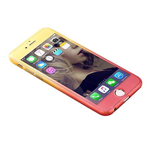 niceEshop(TM) Caso de IPhone 6 Plus/6S Plus, la Caja Dura Delgada de Gradiente de Colores Protección de Cuerpo Completo con una Función de Vidrio Templado de Protector de Pantalla Amarillo y Rojo