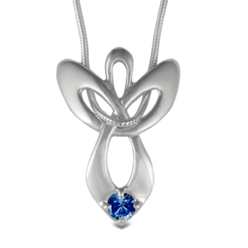 - Loving Family Sterling Silver September Swarovski Crystal Guardian Angel Necklace - 16