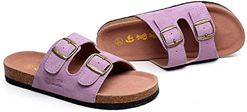 Womens Ladies Leather Flat Soft Footed Keen Slippers Athletic Sandals Purple y04HW9