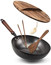 """Bielmeier Wok Pan 12.5"""", Woks and Stir Fry Pans with lid, Carbon Steel Wok with Cookware Accessories, Wok with Lid Suits for all Stoves(Flat Bottom Wok)"""