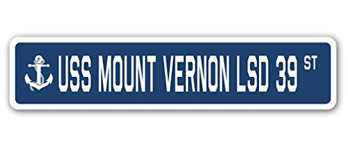 USS Mount Vernon LSD 39 Street Sign us Navy Ship Veteran Sailor Gift
