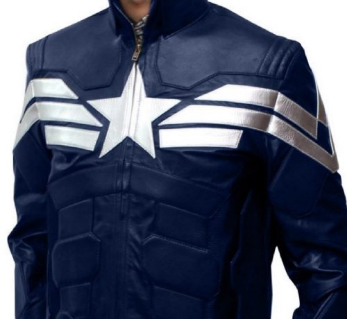 [Captain Bomber Blue Leather Calloween Costume Comic con - PU (S)] (Faux Chain Hooded Costumes)