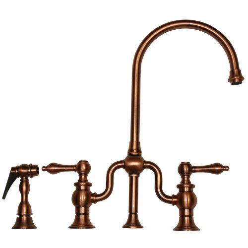 Gooseneck Spout Bridge Faucet (Whitehaus WHTTSLV3-9773SPR-ACO Whttslv3-9773Spr-Acotwisthaus bridge Faucet with Long Gooseneck Swivel Spout, Lever Handles & Solid Brass Side Spray, Antique Copper)