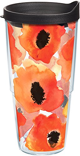 Tervis 1243378 Watercolor Poppy Tumbler with Wrap and Black Lid 24oz, Clear ()