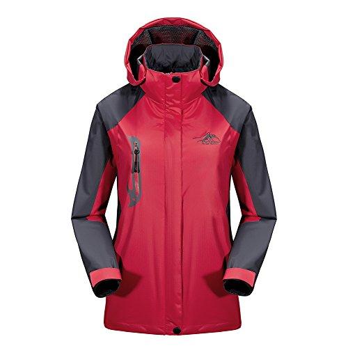 BENNINGCO Womens Outdoor Jacket Raincoat Hiking Ski jacket waterproof Rain Jacket(Red,XL)