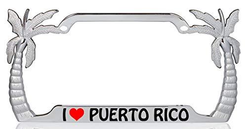 I Love Puerto Rico Palm Tree Design Chrome Metal Auto License Plate Frame Car Tag Holder ()