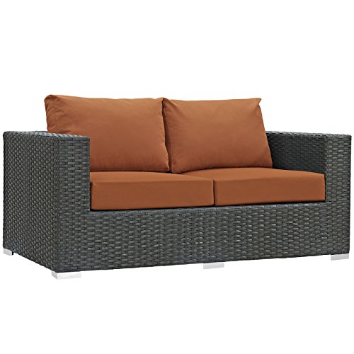 Tuscan Fabric Seat - Modway EEI-1851-CHC-TUS Sojourn Wicker Rattan Outdoor Patio Coffee Table, Loveseat, Tuscan Orange