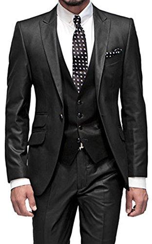 De Negro 5 Bolsillos Piezas Pantalón Chaleco Con Hombre Traje George 002 Chaqueta Bride Para Traje Corbata qn6ZxpXt