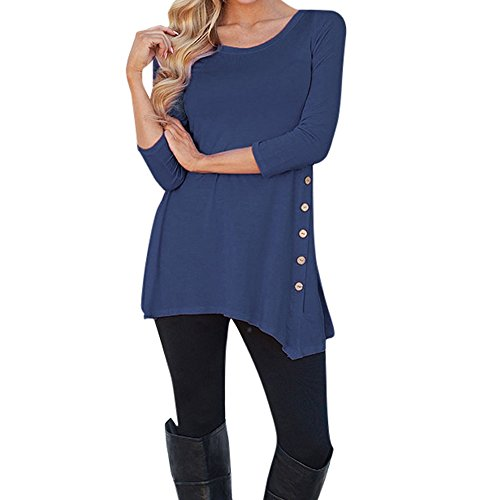 Women Long Sleeve O-Neck Tunic T-Shirt Loose Button Trim Blouse AmyDong Solid Hooded Sweater(Dark Blue,5XL)